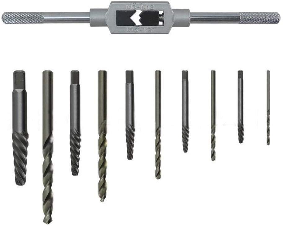 Fulok Easy 11pcs//Set Screw Extractor Drill Bit Damaged Broken Screw Bolt Adjustable Tap Die Wrench Stud Remover Tool Kit for Woodworking Screws