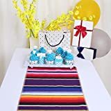 Zdada 14x 84 Inch 10Packs Colorful Striped Fringe Tablerunner Party Cake Cotton Mexican Table Runner Serape Tablerunner for Weddding Ceremony Banquet