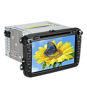 KKmoon 8 Inch HD Autoradio Num¨¦rique DVD Car PC St¨¦r¨¦o GPS Navigation Bluetooth pour VW Volkswagen JETTA SAGITAR PASSAT CC SKODA + Carte Gratuite