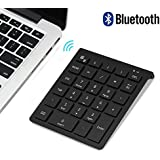 Bluetooth Number Pad, 7Lucky Portable Wireless Bluetooth 28-Key Numeric Keypad Keyboard Extensions for Financial Accounting Data Entry for Smartphones, Tablets, Surface Pro, Windows, Laptop and More