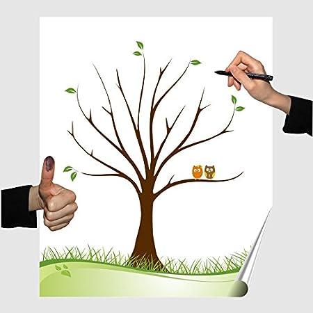 Póster con árbol de huellas y búho, para fiestas, bodas, cumpleaños, libro de visitas, póster de recuerdos