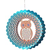 FONMY Owl Metal Sun Catcher Wind Spinner,Hand Painted Stainless Steel w/Crystal Beads Rust Resistant Decoration for Indoor Outdoor Quality Home Ornament Multi Color Sun Catcher Wind Spinner-12inch.