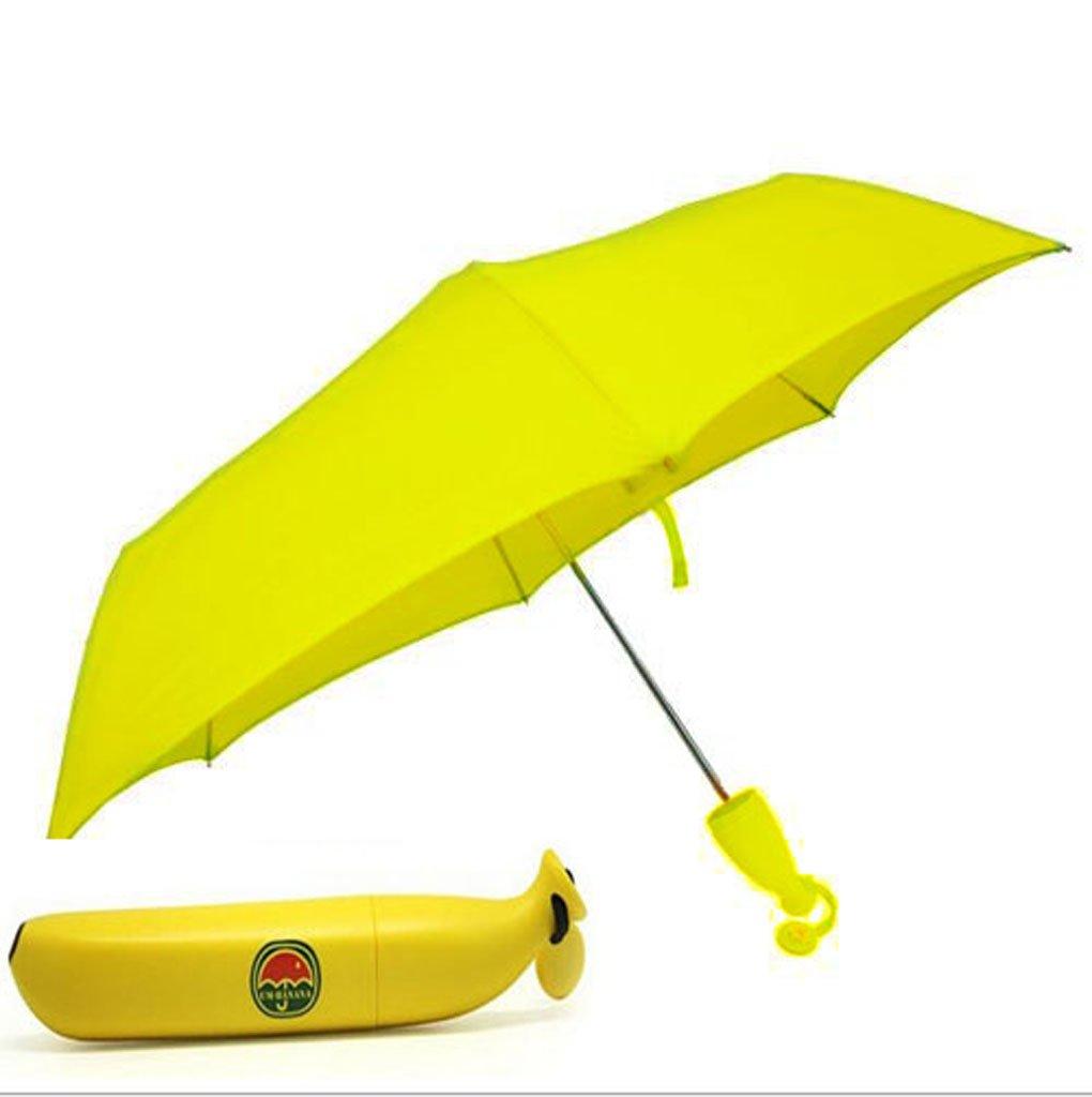Bananen Regenschirm Sonnenschirm UV Schutz Gelber Taschenschirm mit Banana Wohnen Kreativer Reiseschirm für Auto Tragbarer Schirm für Kinder Damen Frauen Studenten Leicht Windfest Durchmesser 88cm
