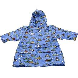 Pluie Pluie Boys Outerwear Blue Truck Unlined Raincoat 2T/3T