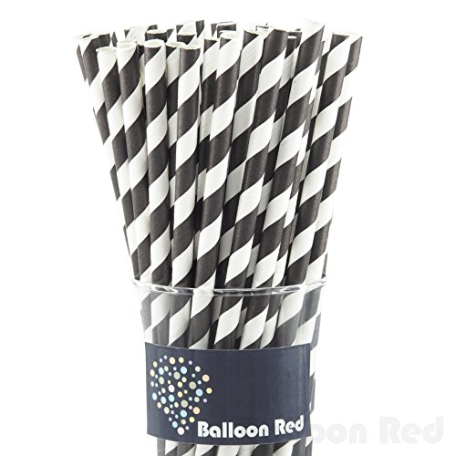 Biodegradable Paper Drinking Straws (Premium Quality), Pack of 50, Striped - Black