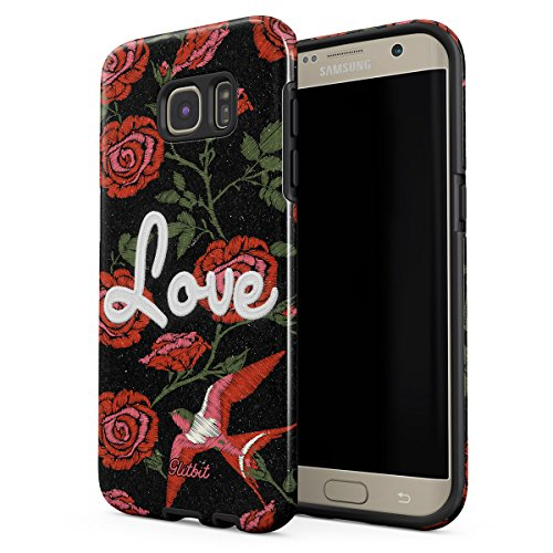 Glitbit Samsung Galaxy S6 Edge Case Cute Embroidered Print Love Red Rose Stylish Tumblr Floral Pattern Flowers For Girls Vintage Heavy Duty Shockproof Dual Layer Hard Shell + Silicone Protective Cover