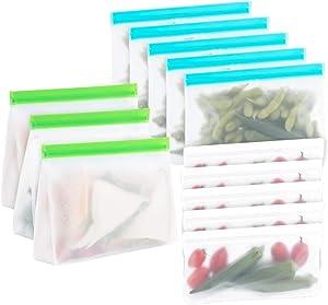 Lemonfilter 13 Pack Reusable Food Storage Bags, Leakproof Freezer Bags Food Safety, BPA-Free, Sandwich Bags Zip lock Storage Bags for Fruit, Vegetables, Snack, Lunch