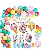 مجموعة دونات غرو اب لتزيين حفلات اعياد الميلاد بتصميم الدونات مع بالونات من اللاتكس ولافتة علوية وزينة كعك ورقائق النجوم، 46 قطعة