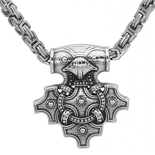 GuoShuang Nordic Viking Odin Raven Thor Hammer Mjolnir stainles Steel Pendant Necklace]()