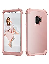 Shockproof Case for Samsung Galaxy S9 Plus,Gostyle Luxury Detachable 3 in 1 Hybrid Hard PC + Soft Silicone Drop Protection Armor Case Anti-scratch Bumper Full Protection Cover,Rose Gold