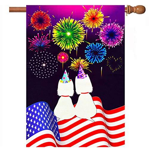 (De Lon American Garden Flag, Happy New Year Garden Flag, Cute Cat American Flag Independence Day Garden Flag, Happy New Year Flag, 28x40 Inch, Double Linen Fabric, Happy New Year)