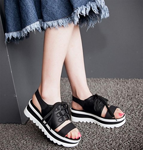 sandalias deportivas con la mujer sandalias de fondo grueso panecillo salvaje verano estudiantes simples sandalias planas Black