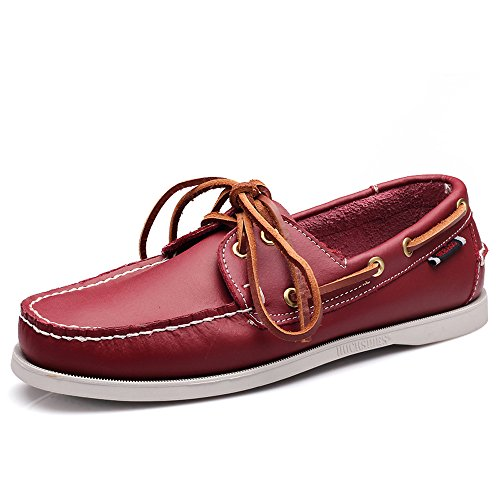 EnllerviiD Men Classic Two-Eye Boat Shoes Slip-On Driving Moccasins Flat Leather Loafers 9032 Red 0g2PWBnvQX