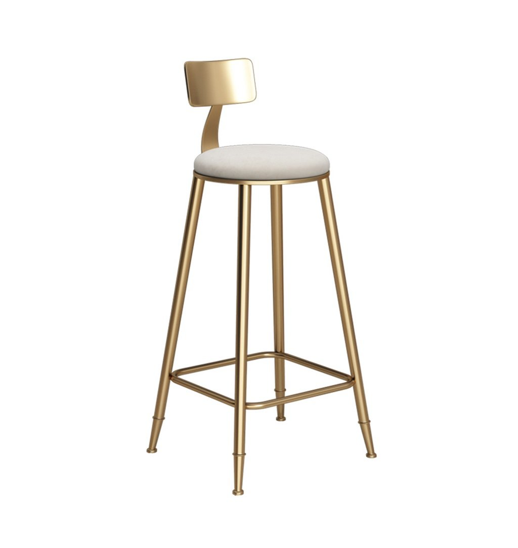 White Chairs Iron Art Bar Stools Vintage golden Counter Chair Kitchen Breakfast Barstool Suitable for Family and Business - 46×46×78CM (color   Pink)