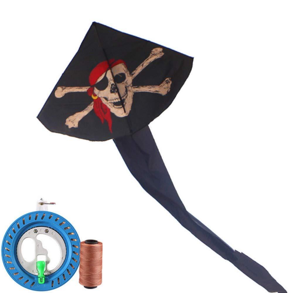 YPKHHH Creative Enfants de cerf-Volant de Weifang Dessin animé Longue Queue Brise Facile à Piloter Petit Pirate avec Roue de la Ligne 300m 118cm + 365cm