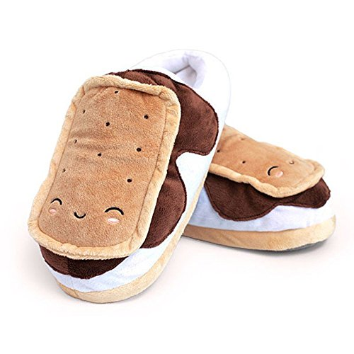 SMOKO Adorable Plush S'mores Heated Slippers, Powered by USB