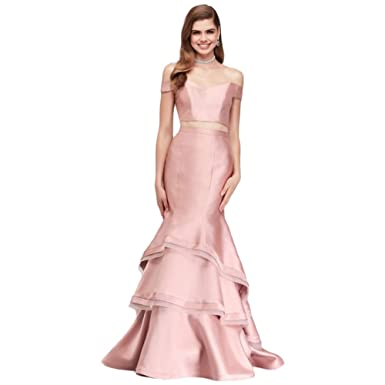 Davids Bridal Shoulder Mikado Two Piece Mermaid Prom Dress Style