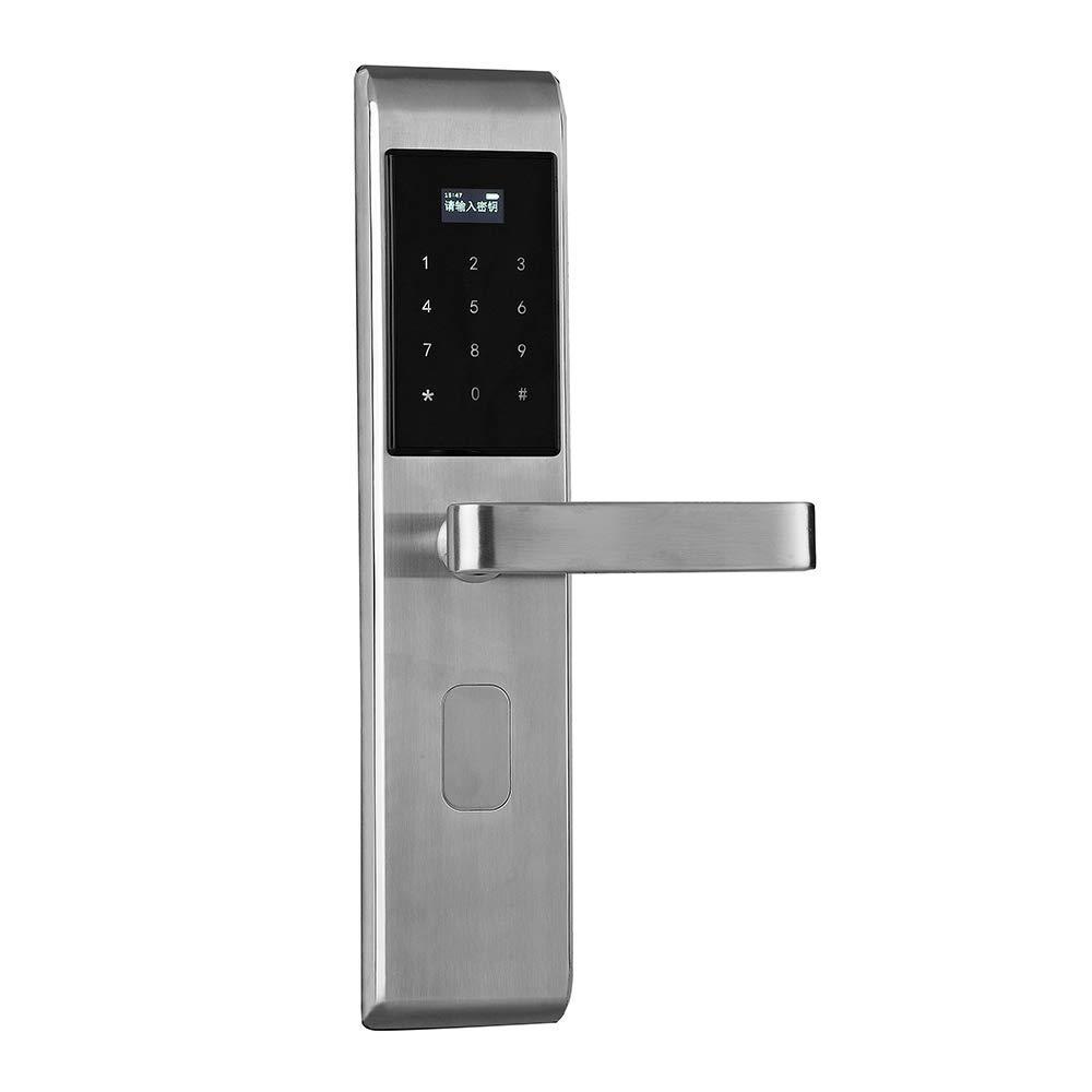 Electronic Smart Door Lock Card Unlock + Password Unlock + App Password Unlock + Key 24024mm Silver