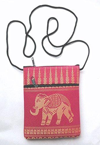 Elephant passport shoulder bag - pink with 2 pockets
