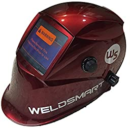 Weldsmart Made in JAPAN Large View 4- Arc Sensors 100x53mm (4 X 2 Inches) Auto Shade Darkening Welding Helmet DIN 5-9 & 9-13 with Grinding Mode EN/ANSI Certified (Large, Red)