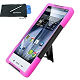 for Sharp Aquos Crystal X 5.5 Hybrid Y Stand Cover Case Stylus Pen ApexGears (TM) Phone Bag. Black Pink