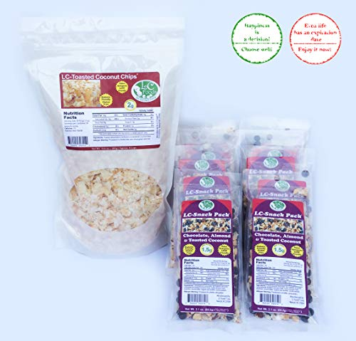 Keto Foods And Snacks, Unsweetened Toasted Coconut Chips + Chocolate Almond & Toasted Coconut Snack Packs by LC Foods, Atkins Diet, Gluten Free Treats For Kids & Adults by LC-Foods (Image #3)