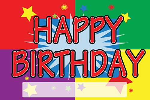 BANNER BUZZ MAKE IT VISIBLE Happy Birthday Yard Sign with Metal Stakes, Non-Reflective UV Print Corrugated Plastic Sheets for Indoor & Outdoor Garden Signs (18