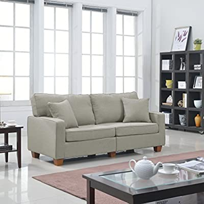 Casa Andrea Milano Modern 73-Inch Linen Fabric Love Seat, Beige - This modern extra large love seat is conveniently packed and shipped via FedEx right to your door! This couch is packaged in a box for easy assembly and transportation for easy to maneuver up or down the stairs Sturdy hardwood frame with soft linen fabrics in a variation of soft colors with 2 free accent pillows - sofas-couches, living-room-furniture, living-room - 51mF8CMEwfL. SS400  -