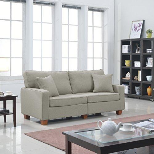 Casa Andrea Milano Modern 73-Inch Linen Fabric Love Seat, Beige ()