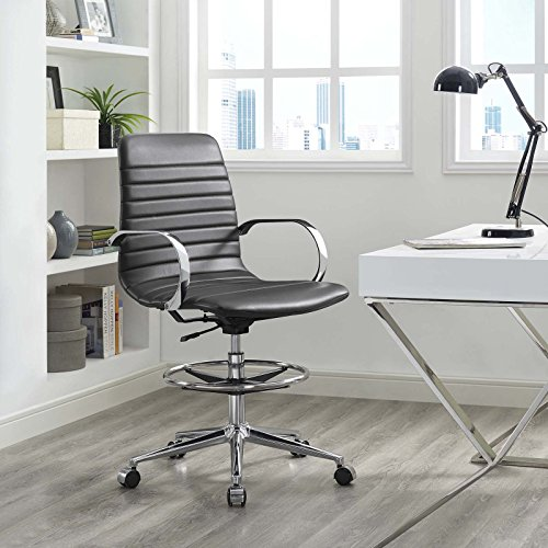 Modway EEI-2863-GRY Groove Ribbed Back, Drafting Chair, Gray