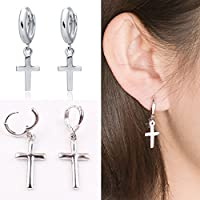 phitak shop Men Women Stainless Steel Dangle Cross Ear Stud Hoop Huggies Earring Punk CHIC