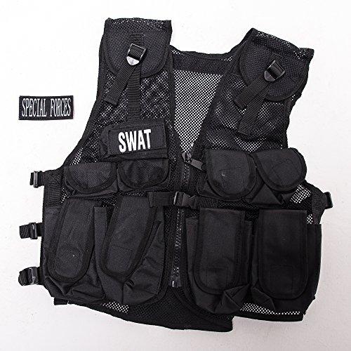 Kids Combat Vest, Kids Special Forces Black Stealth Combat Vest, Swat by KAS