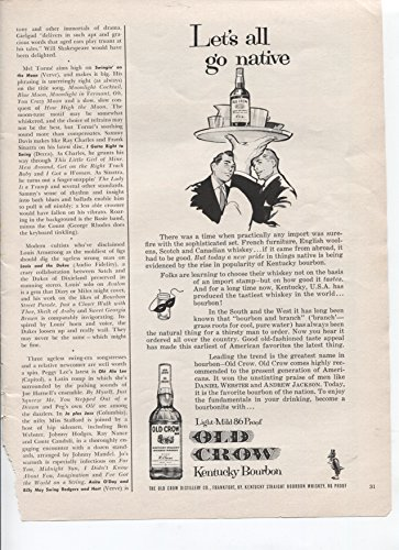 Old Crow Kentucky Bourbon Light Mild 86 Proof Let's All Go Native Favorite Bourbon Of The Nation 1961 Vintage Antique Advertisement