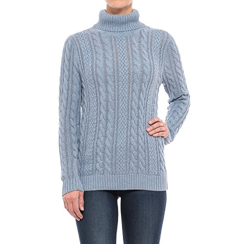 - Jeanne Pierre Women's Fisherman Cable-Knit Turtleneck Sweater (Chambray Heather, X-Large)