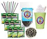 DeDe Instant Boba Tea Kit 9 Drink Packets, Straws & Boba Green Tea Latte Frape
