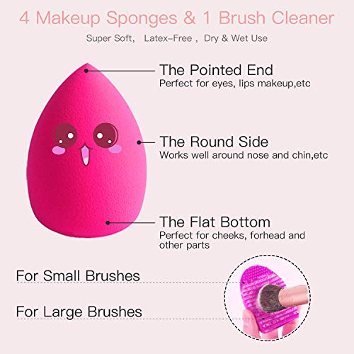 BESTOPE Makeup Brushes 16PCs Makeup Brushes Set with 4PCs Beauty Blender Sponge and 1 Brush Cleaner Premium Synthetic Foundation Brushes Blending Face Powder Eye Shadows Make Up Brushes Tool