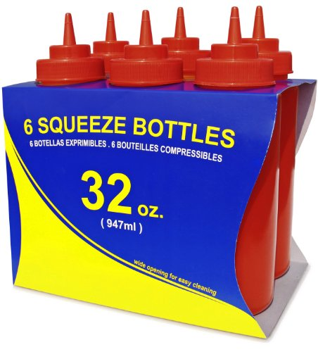 Ketchup Mouth Wide - New Star Foodservice 26436 Squeeze Bottles, Plastic, Wide Mouth, 32 oz, Red, Pack of 6