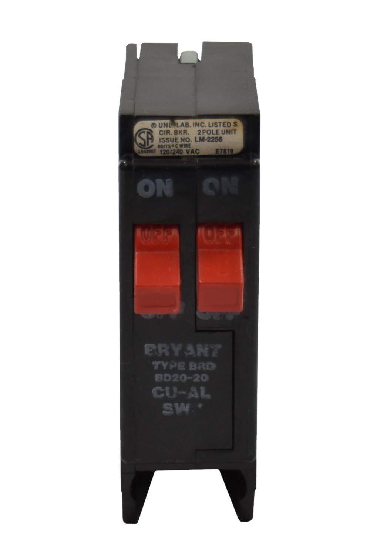 BRYANT BRD 2 pole twin 20 amp 120//240v BD2020 Circuit Breaker BD 20-20