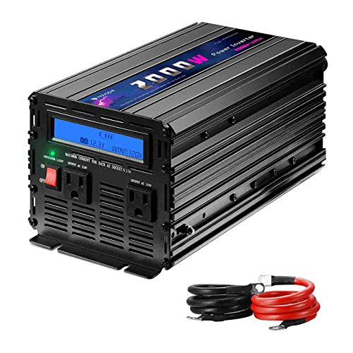 Novopal 2000W Power Inverter Modified Sine Wave DC 12v to AC 120v Dual AC Outlets with LCD Display -Black (Lcd 2.5' System Sensor)