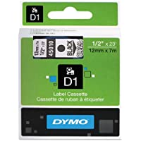 Genuine DYMO 1/2 (12mm) Black on Clear D1 Label Tape for Electronic Dymo LabelWriter DUO Label Maker
