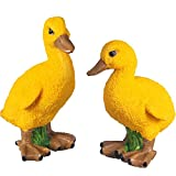 Chuangdi 1 Pair Yellow Resin Duck Figures Garden Statues for Outdoor Yard Decoration