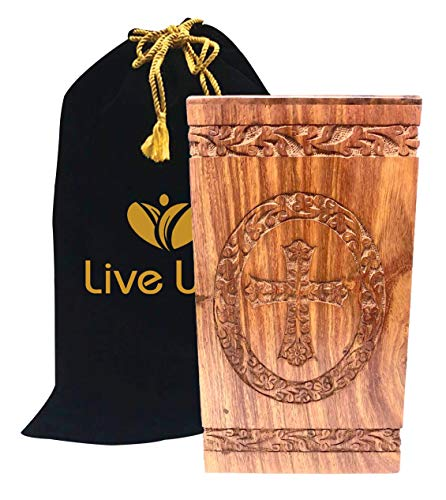 Liveurns Rosewood urn,Handcrafted Adult Funeral Urn for Ashes-Wood Cremation Urn Cross
