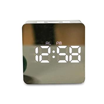 RTMN Despertador Despertador Multifunción Espejo Reloj Temperatura ...