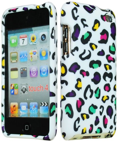 s Hard Rubberized Animal Print Case for Apple iPod Touch 4, 4th Generation - Pink, Yellow, Green, Purple Leopard Design ()