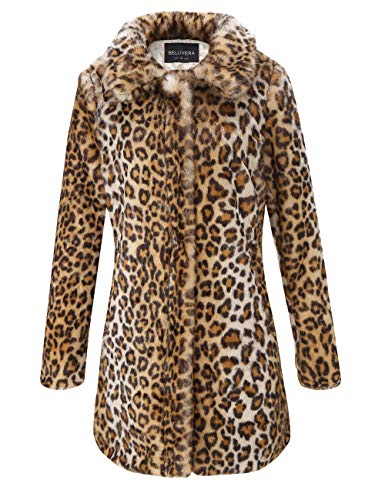 Bellivera Faux Fur Jacket Coat Womens Leopard Sexy Sleeve Winter Warm Fluffy Parka Overcoat Outwear Tops (Sleeve Fur Boot Faux)