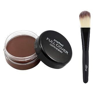 Best Sexy Gift! Makeup Base Beisoug Base Nude Face Flüssiger Abdeckcreme + Holzbürste