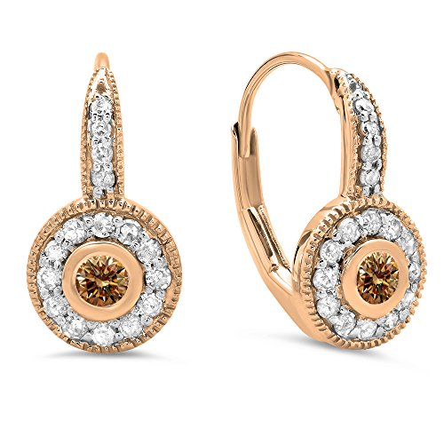 0.45 Carat (ctw) 14K Rose Gold Champagne & White Diamond Cluster Millgrain Drop Earrings 1/2 CT