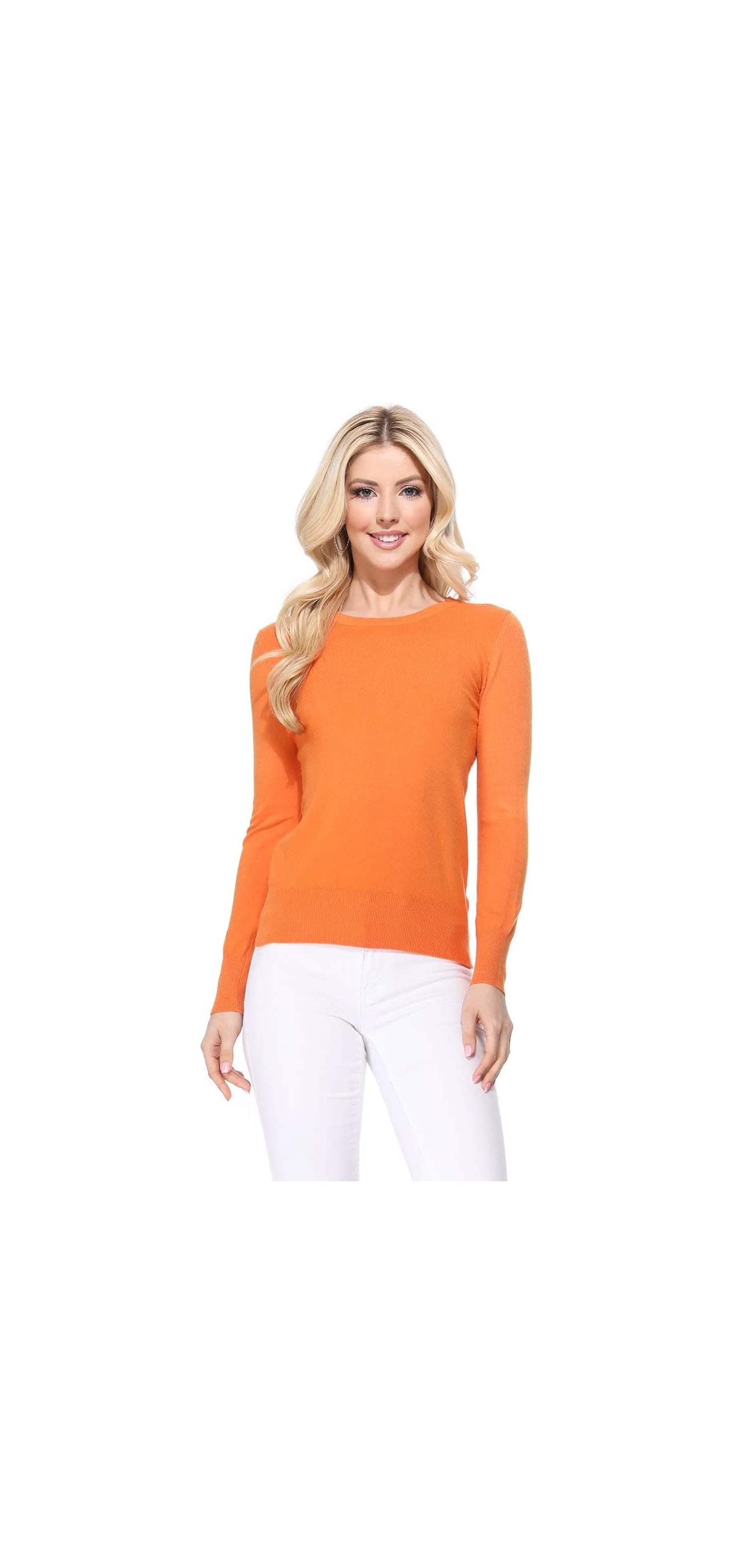 Women's Long Sleeve V-neck Basic Soft Knit T-shirt Sweater