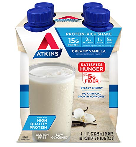 Atkins Creamy Vanilla Protein-Rich Shake. With High-Quality Protein. Keto-Friendly and Gluten Free. 4 Shakes
