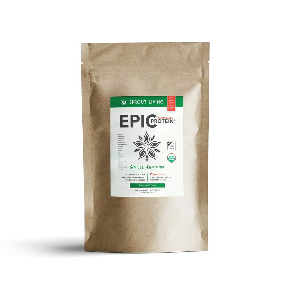 Sprout Living Epic Protein Powder, Green Kingdom Flavor, Organic Plant Protein, No Additives, Gluten Free, 20 Grams Clean Vegan Protein (5 pounds, 65 Servings)